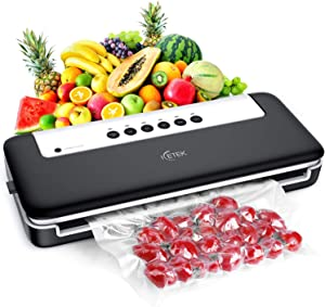 ICETEK Vacuum Sealer Machine, Upgrade Full Automatic Food Savers with Customized Vacuum Modes and Rolls Starter Kit