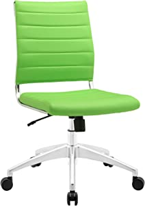 Modway Jive Ribbed Armless Mid Back Swivel Conference Chair In Bright Green