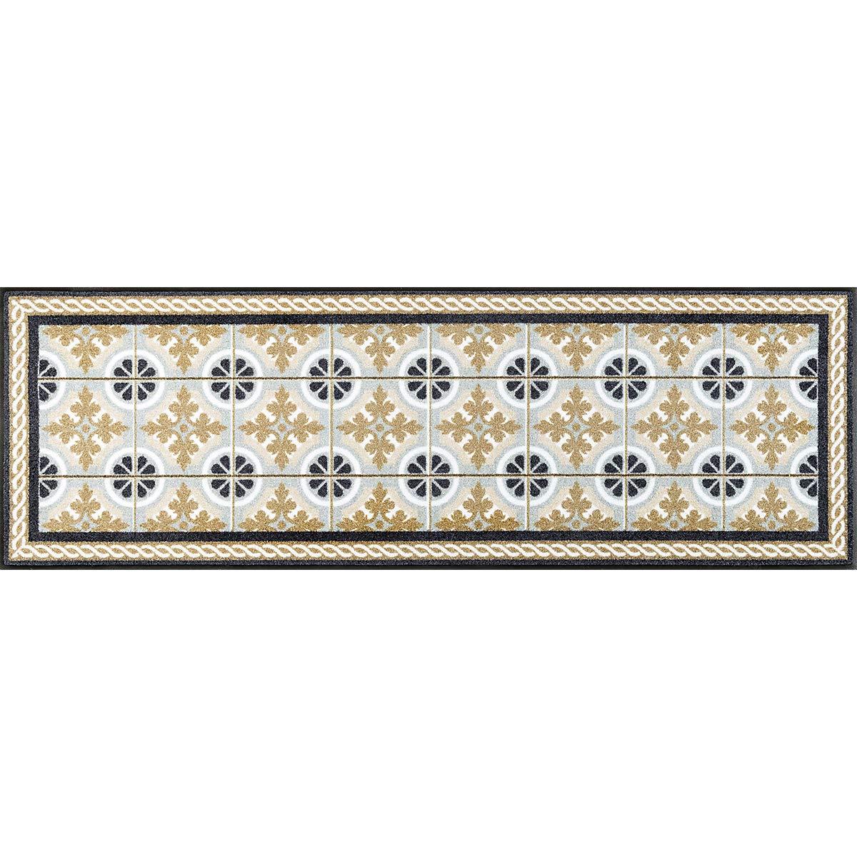 Wash+dry Kitchen Tiles Fußmatte, Acryl, beige, 60 x 180 x 0.7 cm