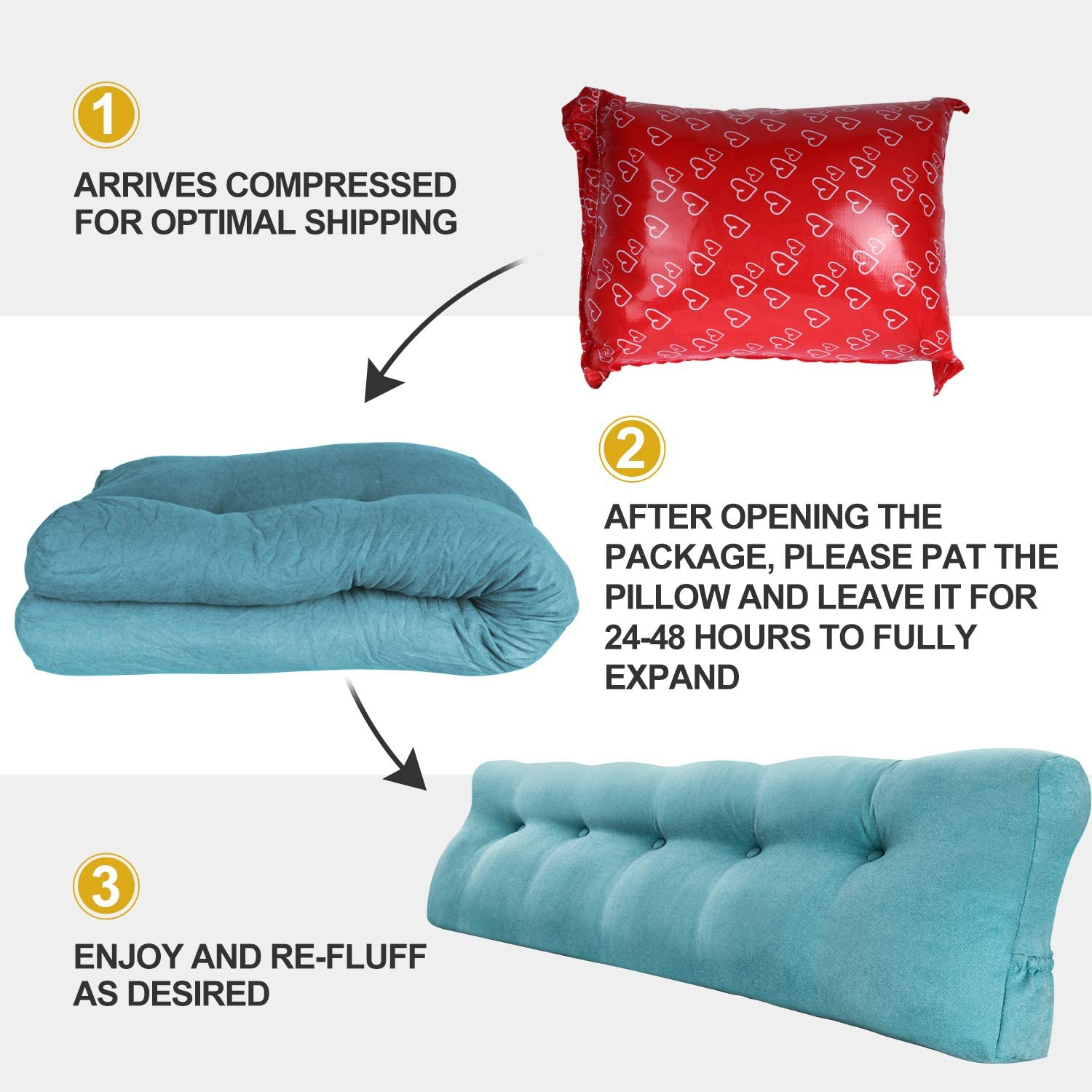 Wedge Headboard Pillow with Removable Cover Blue (King) Perfect Bolster Lumbar Cushion for Day Bed /& Bunk Bed Vekkia Large Triangular Bed Rest Positioning Support Pillow for Reading in Bed