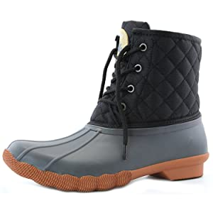 Women's DailyShoes Snow Booties Lace Up Ankle High Duck Padded Mud Rubber Waterproof Rain boots, 9