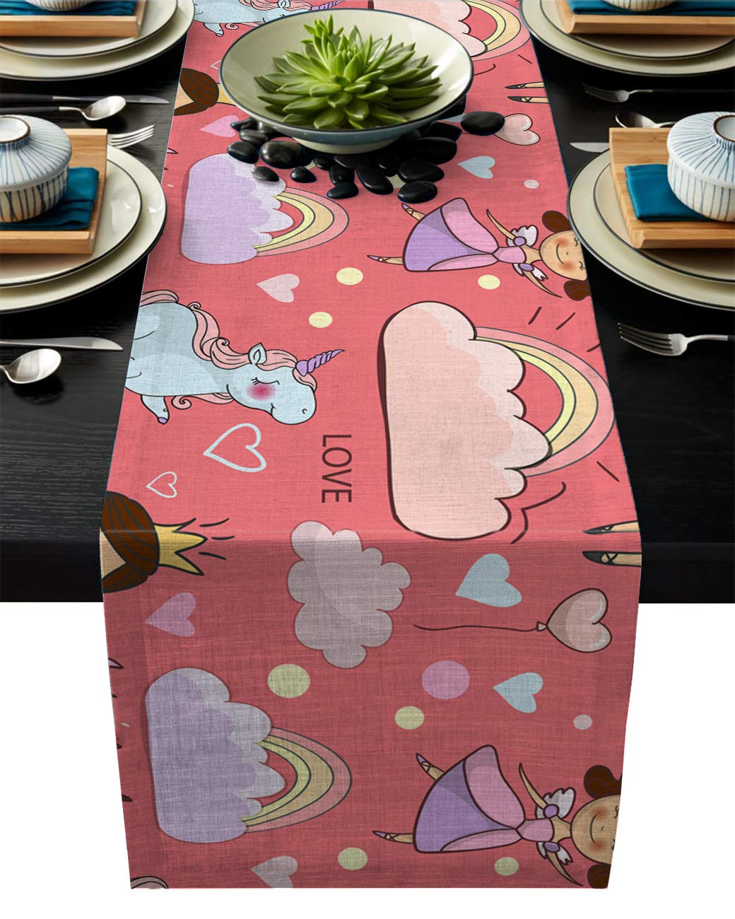 IDOWMAT Linen Burlap Table Runner Dresser Scarves 14 x 72 Inch, Pink Fairy Princess Unicorn Kitchen Table Runners for Farmhouse Dinner, Holiday Parties, Wedding, Events, Decor
