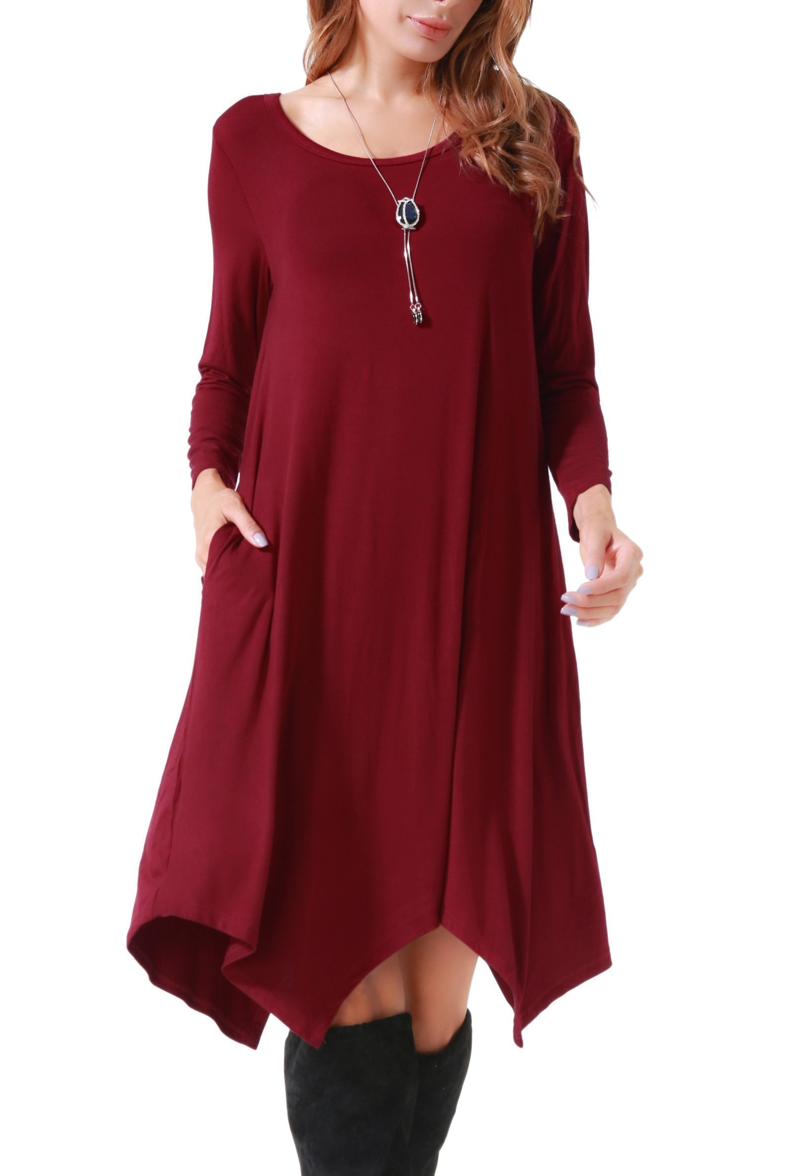 Invug Women Casual Loose Soft Crewneck Long Sleeve Pockets Swing T-shirt Dress Dark Red XXL by Invug (Image #7)