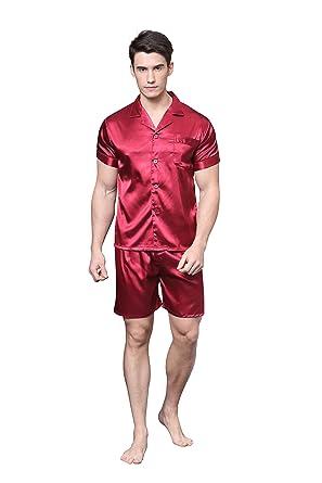 Herren Pyjama Kurz Klassische Satin Schlafanzug von Tony & Candice (M,  Burgund)