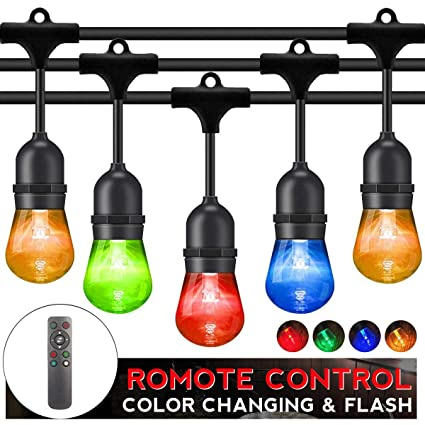 Outdoor String Lights LED Patio RGB Color Changing String Lighting 48FT  24sockets Patio Lights Outdoor Lights