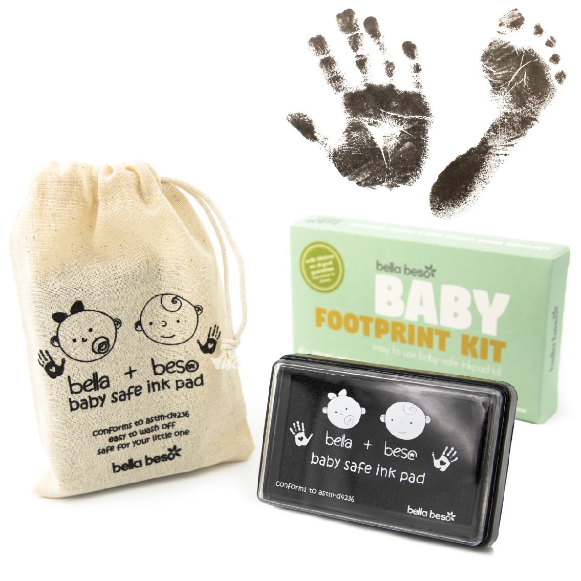 Baby Footprint Kit - Easy Clean Baby Safe Black Ink Pad for Baby Hand Prints and Footprints with Lifetime inkpad Guarantee Bella Beso