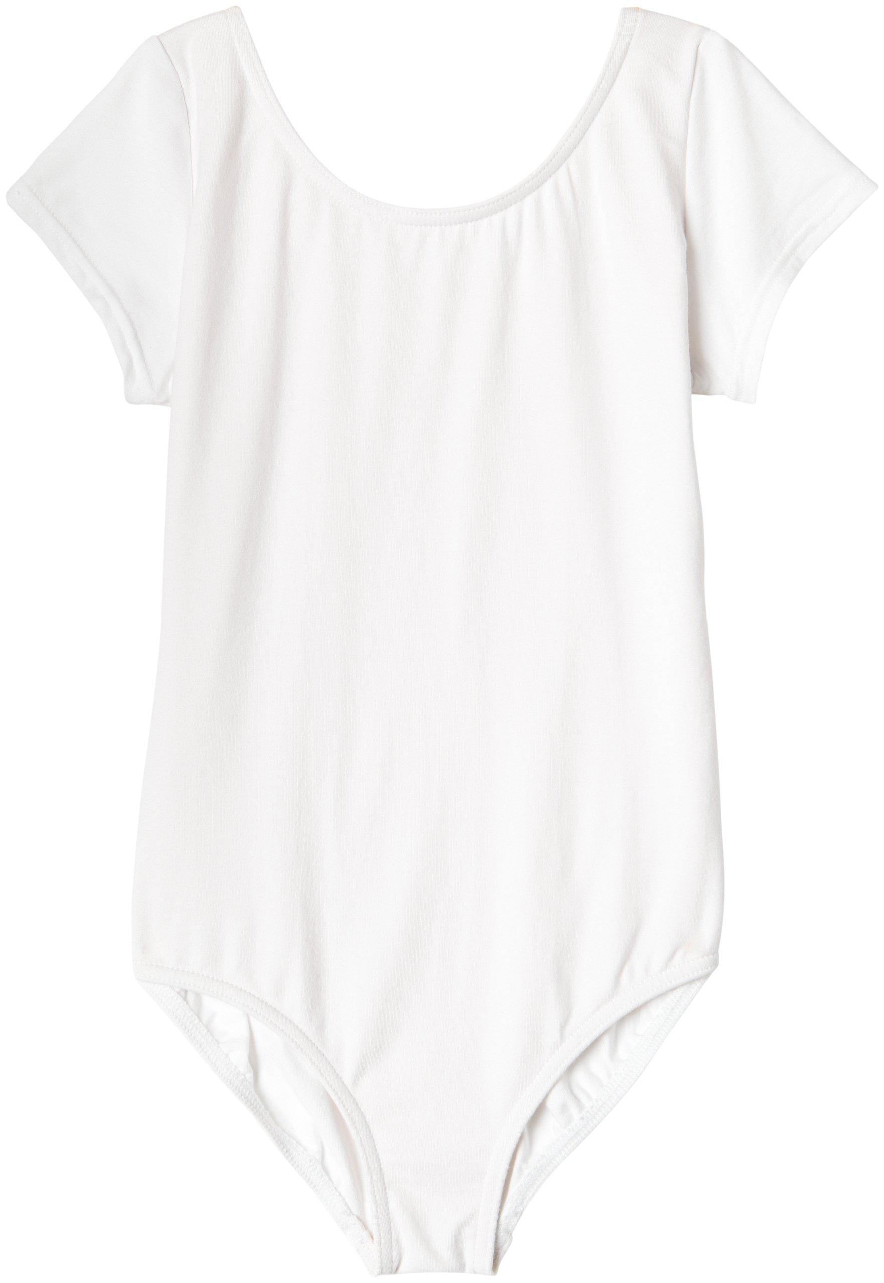 Capezio Big Girls' Classic Short Sleeve Leotard,White,M (8-10)