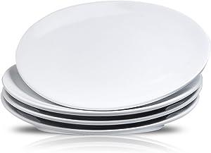 DUS White Porcelain Dinner Plate Set, 10.4 Inch Dinnerware Set Platters Dishes for Restaurant Christmas Party - Set of 4