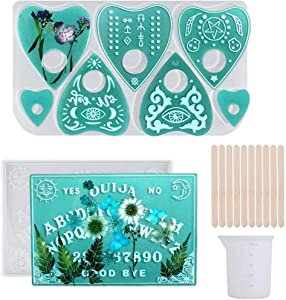 Xgood 13 Pieces Ouija Board Resin Mold DIY Tools Ouija Board Mold and Planchette Mold with Measuring Cup and Stirring Sticks for Ouija Board Game, DIY Crafts Decorations