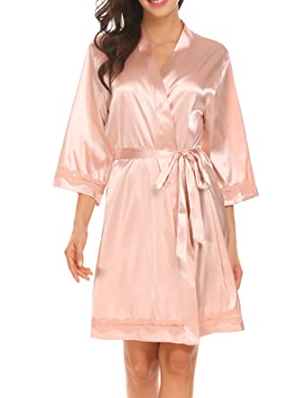 570853e97 Ekouaer Women's Satin Kimono Robe V-Neck Short Bathrobe with Silk ...