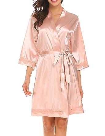 fbb5277180 Ekouaer Women s Satin Kimono Robe V-Neck Short Bathrobe with Silk ...