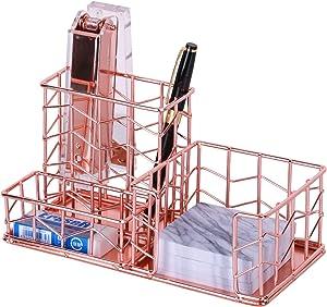 Desk Organizer, Nugorise 3 Compartment Metal Desktop Organizer - Pen, Memo, Business Card Holder, Decorative Wire Desk Supplies Organizer Storage for Home, Office and School, Rose Gold