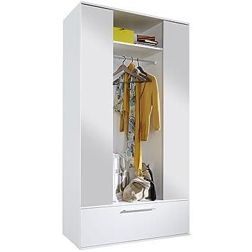 trendteam smart living garderobe garderobenschrank schrank ela 115 x 195 x 42 cm in weiss