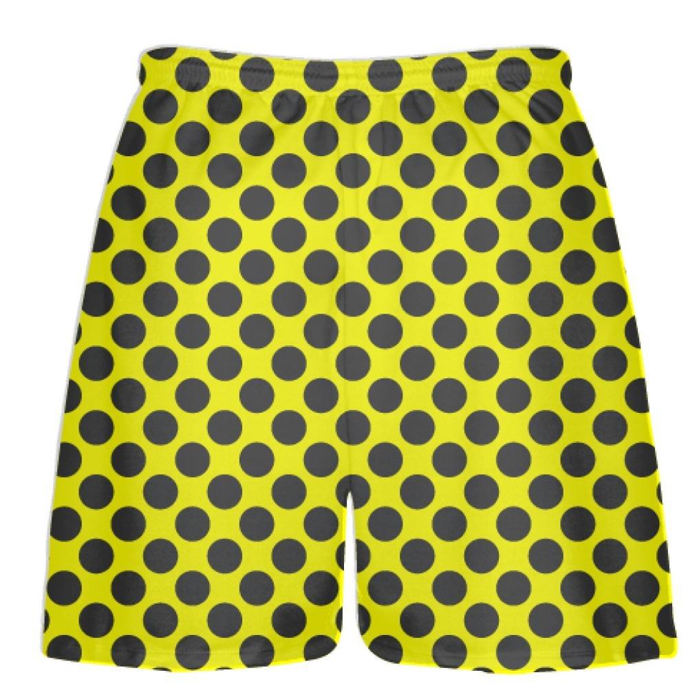 Athletic Shorts LightningWear Yellow Charcoal Grey Polka Dot Shorts Polka Dot Lacrosse Shorts