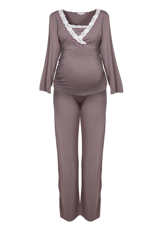 Herzmutter Striped Pregnancy-Maternity-Pajamas for Women, Soft Material, Long Sleeve, Maritime Stripes, White-Blue-Gray (2100) 2000
