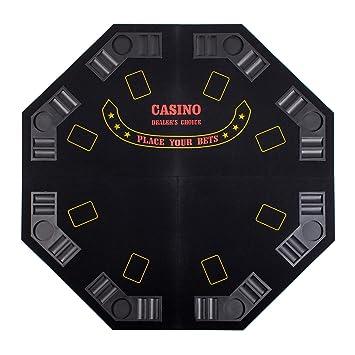 BLACK 48u0026quot; 4 FOLD FOLDING PRO STYLE 8 PLAYERS OCTAGON POKER TABLE TOP  VELVET TABLETOP