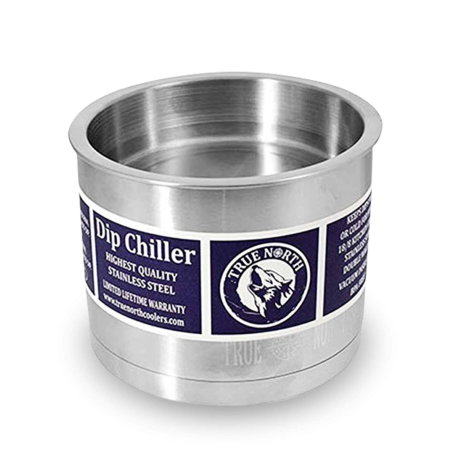 True North Stainless Steel Insulated Serving Bowl + Dip Chiller, Keeps Food and Beverages Hot or Cold Up To 24 Hours, 35 oz, Stainless Steel