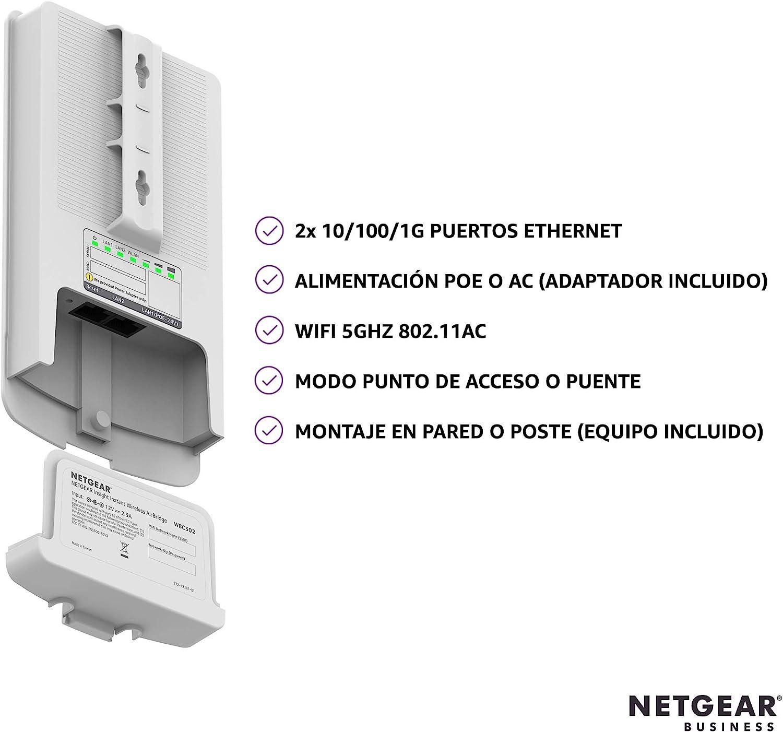 Netgear wbc502 - puente de red inalámbrico airbridge adicional, para conectividad wifi multipunto de largo alcance en exteriores, más de un kilómetro, ...