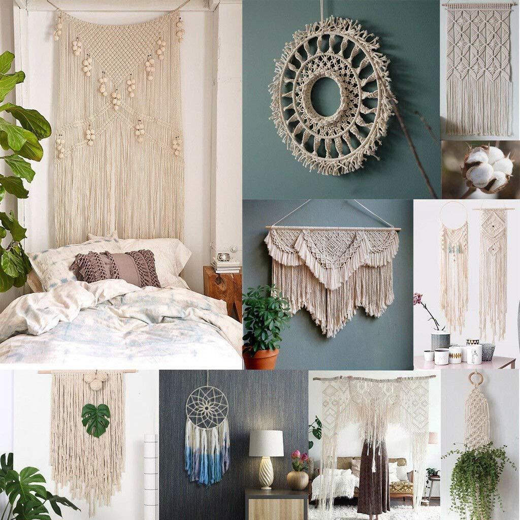 HUYURI 1mm x 220m Macrame Cotton Cord for Wall Hanging Dream Catcher White