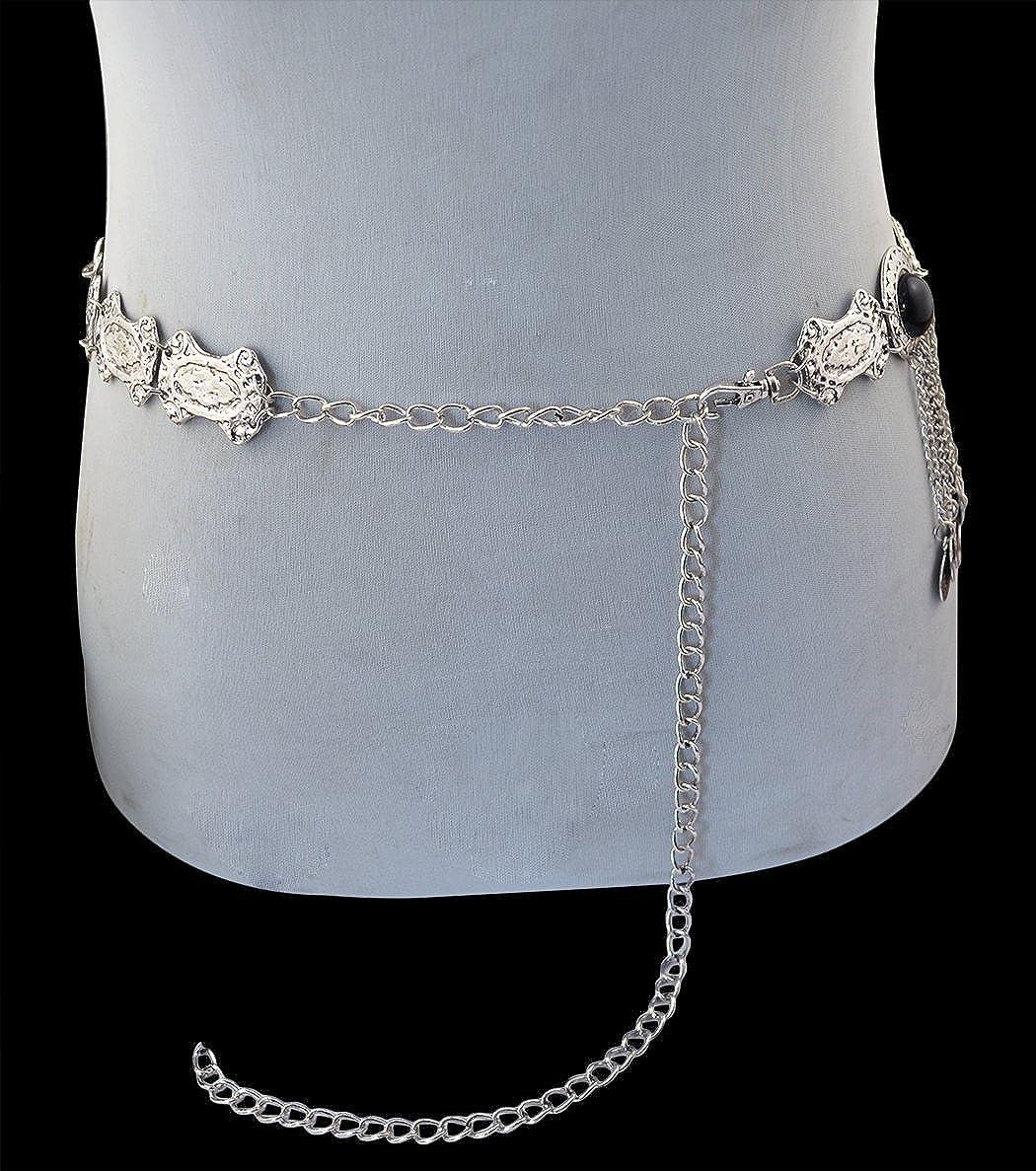 Ethnic Gypsy Bohemia Turkish Silver Engraving Belt Belly Body Chain Jewelry