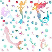 Easma Mermaid Wall Decals Peel and Stick Sticker Girls Bedroom Decor and Stars&Bubbles-Galaxy Color