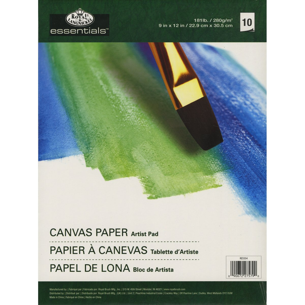Royal Brush and Langnickel 10-Sheet Canvas Essentials Artist Paper Pad, 9-Inch by 12-Inch Notions - In Network RD35-4