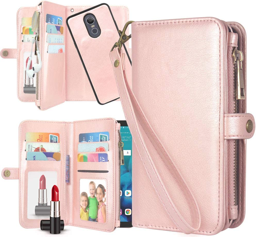 LG Stylo 4 Case, LG Q Stylus Case,Harryshell Detachable PU Leather 11 Card Slots Mirror Zipper Wallet Flip Protective Case Cover Wrist Strap for LG Stylo 4 Plus (Rose Gold)