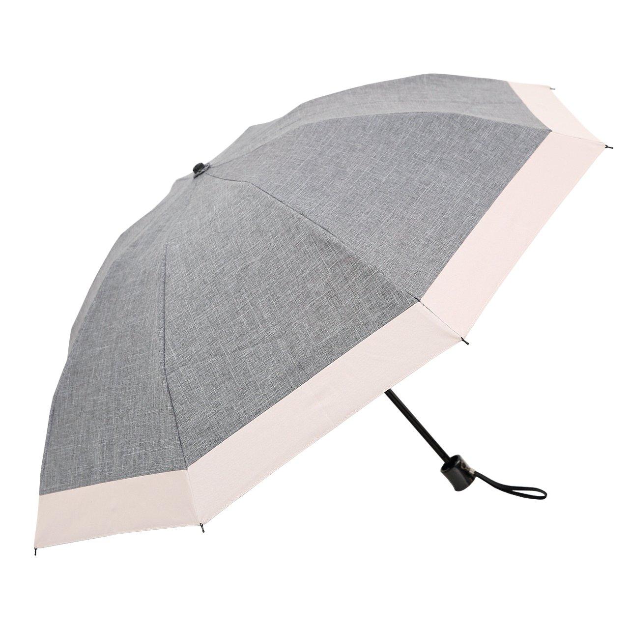 【Rose Blanc】100%完全遮光 日傘 コンビ 3段折りたたみ ダンガリー 50cm 15 (ダンガリーグレー×ピンク) B01427Y4DUダンガリーグレー×ピンク