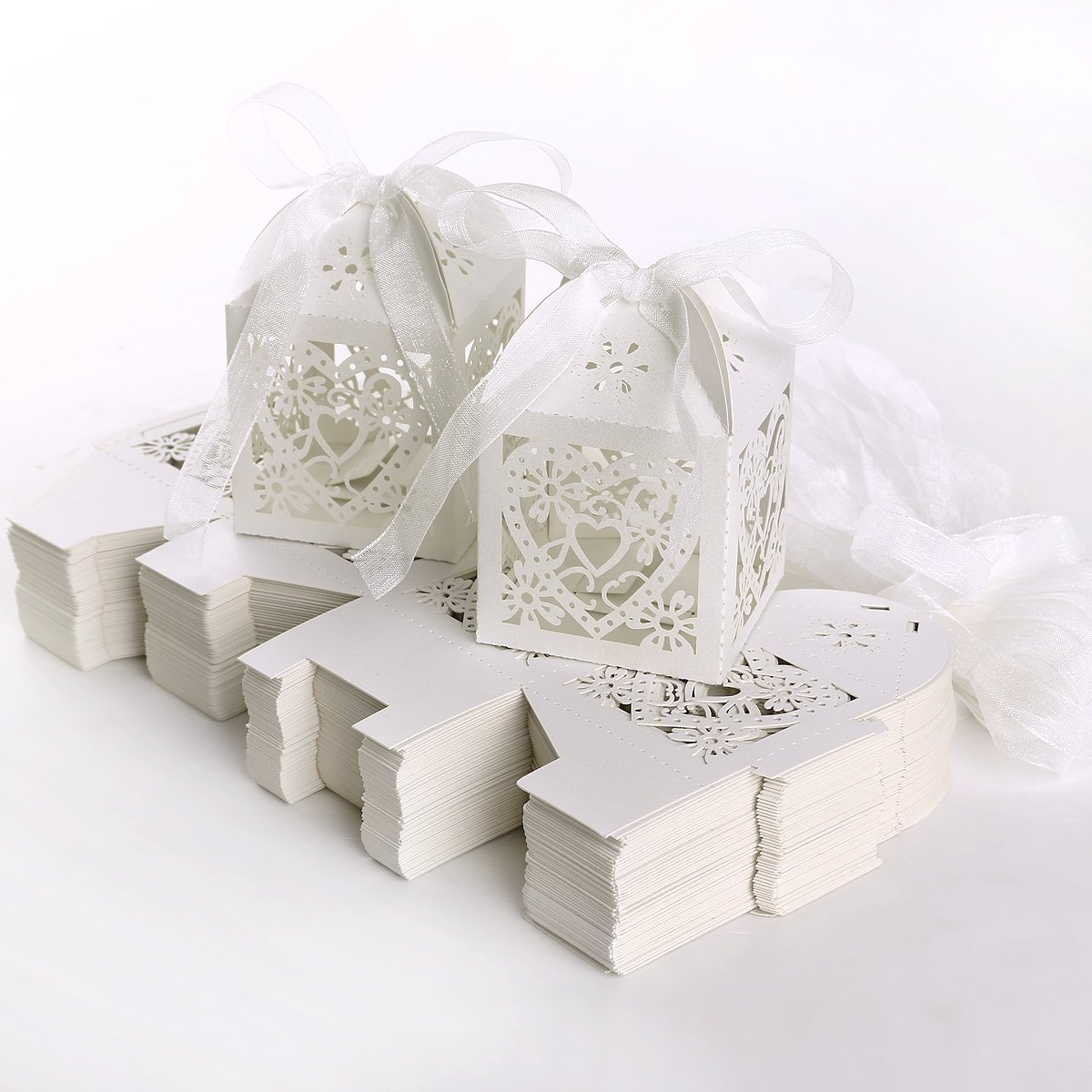 100 Pearlescent Laser Cut Card Bird Cage Favour Boxes Wedding ...
