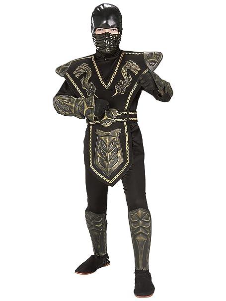 Disfraz de Ninja Dorado enmascarado para niño, infantil 5-7 ...