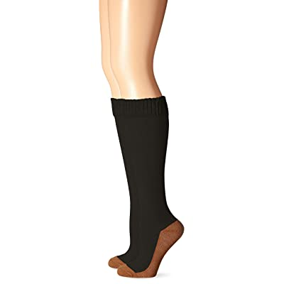 Copper Sole Women's Work Fashion Solid Knee High Socks, Black, Shoe: 4-10 at Women's Clothing store