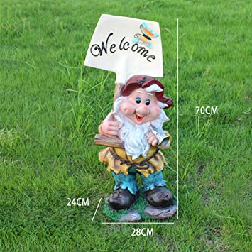 Jardín Al Aire Libre Cartoon Elf Dwarf Welcome Card Garden Sculpture Crafts Decoration- (A B C D) B:28 * 24 * 70cm: Amazon.es: Bricolaje y herramientas