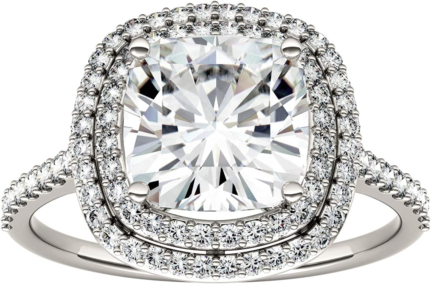 Gold Moissanite by Charles & Colvard 8.0mm Cushion Halo Engagement Ring, 2.90cttw DEW