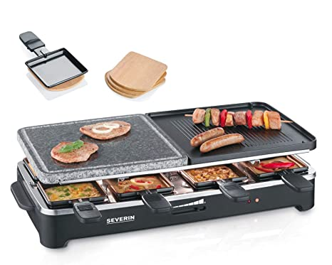 SEVERIN Raclette Partygrill con Piedra Natural y Plancha Reversible, 1.500 W aprox., Incl