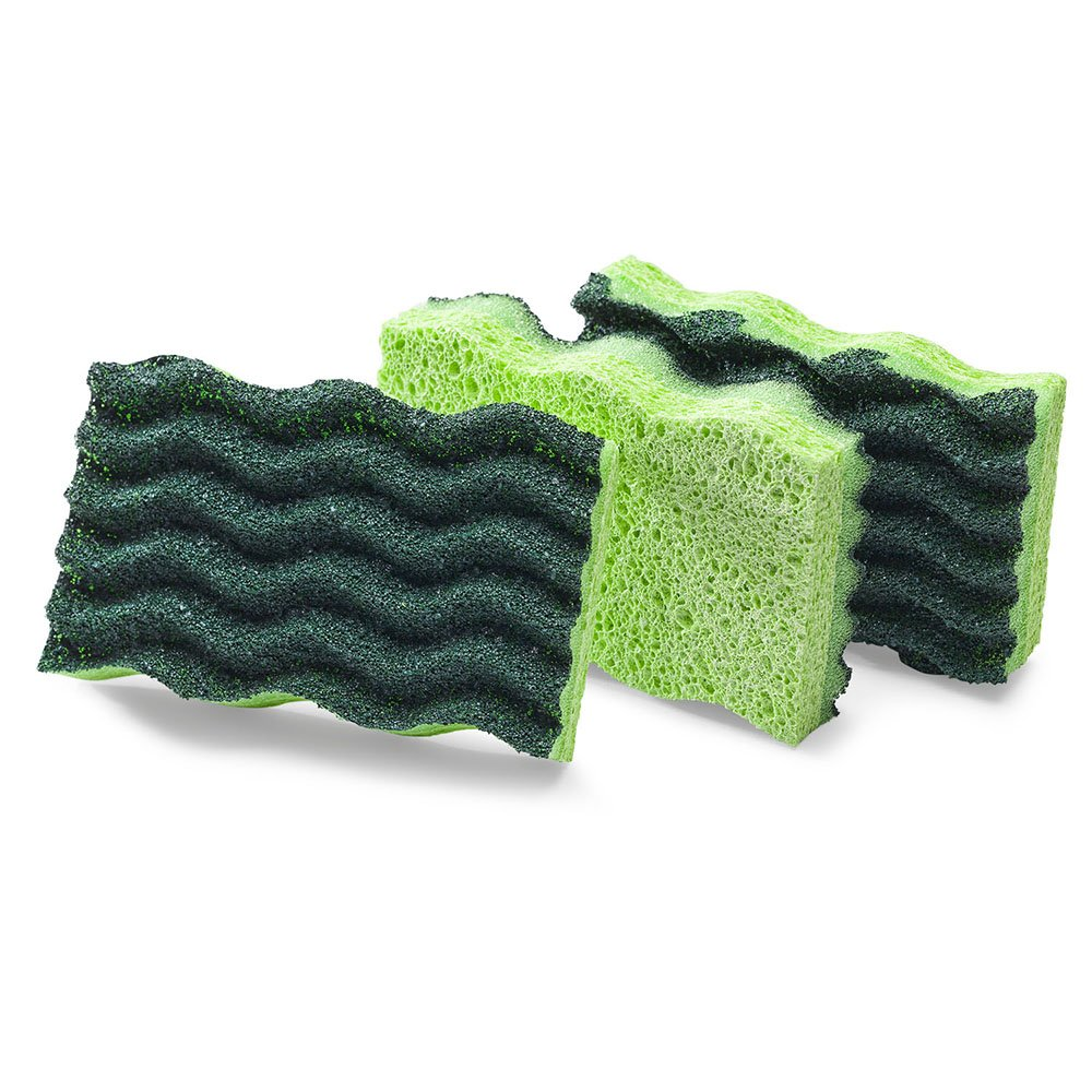 Libman Commercial 1077 Heavy Duty Scrub Sponge, Cellulose, 4.5'' x 3'', Yellow and Green (Pack of 8)