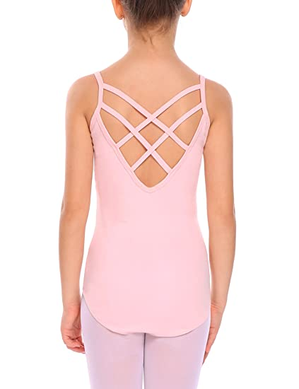 Kidsmian Little Girls' Camisole Leotard with Cross Straps Back Dance Ballet  Gymnastics