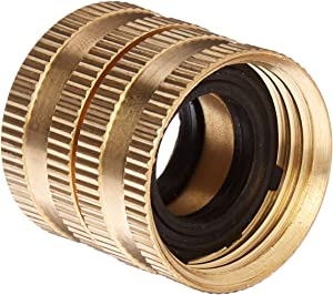Gilmour 2 Pack 7FHS7FH Brass Water Hose Connector | Double Female Thread with Swivel | 3/4 Inch x 3/4 Inch Garden Hose Adapter