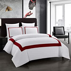 OSVINO 2 Pieces Microfiber Simple Line Style Duvet Cover and Pillow Sham Set Hotel Collection Ultra Soft Bedding Set with Zipper Closure, Wine Red, Twin