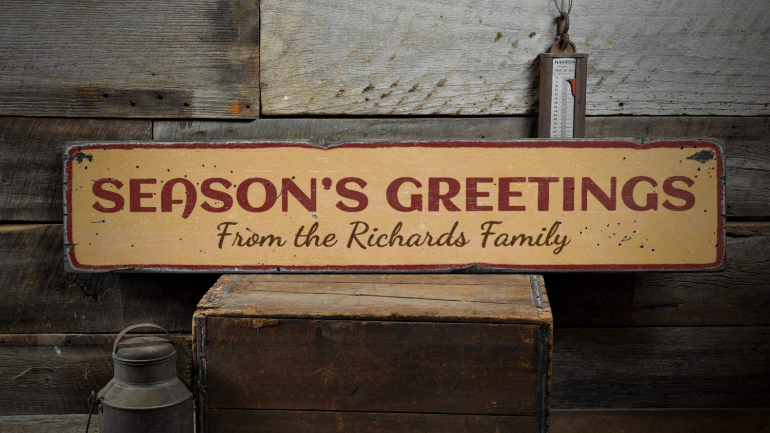 Season's Greetings Wood Sign, Custom Family Last Name Gift, Christmas Holiday Home Home Decor - Rustic Hand Made Vintage Wooden Sign Home Decor,Produced in The U.S.