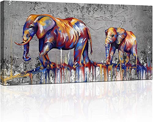 KLVOS Elephant Wall Art Canvas Print Baby Elephant Followed the Mother Abstract Animal Painting Artwork African Picture Wall Decor