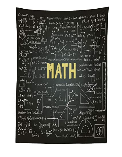 Lunarable Mathematics Classroom Tapestry, Dark Blackboard Backdrop with  Math Equations Geometry Axis Art, Fabric Wall Hanging Decor for Bedroom  Living