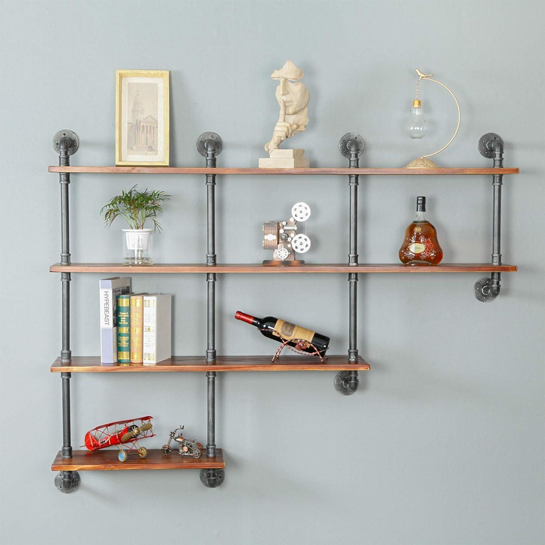 Ethemiable Industrial Vintage 59 in Pipe Shelf with Wood Wall Mount Wine Rack 4-Tiers,Rustic Metal Hung Bookshelf,Storage Shelving,DIY Decor Floating Shelves