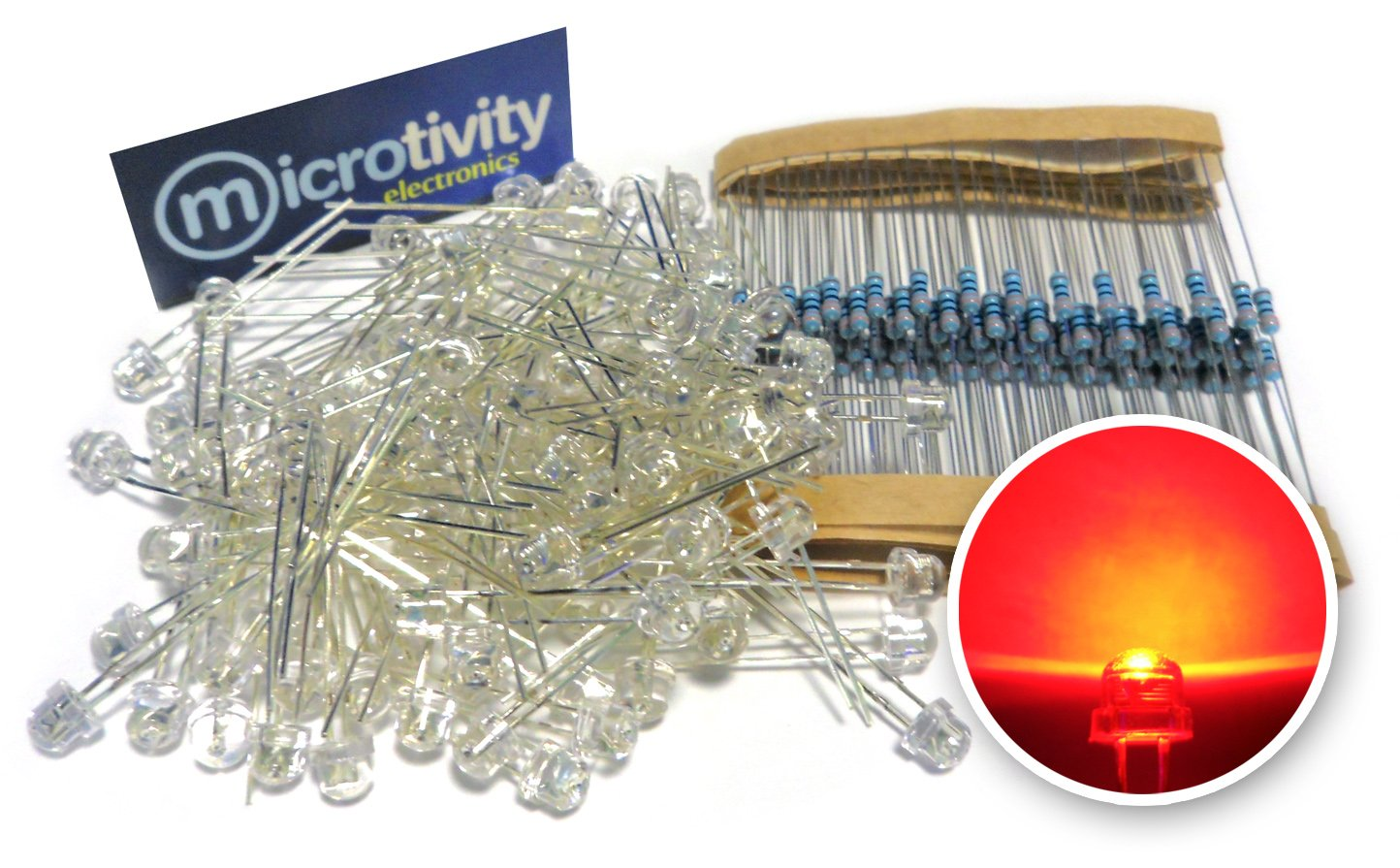 microtivity IL331 4.8mm Wide Angle Red Straw Hat LED w//Resistors Pack of 100