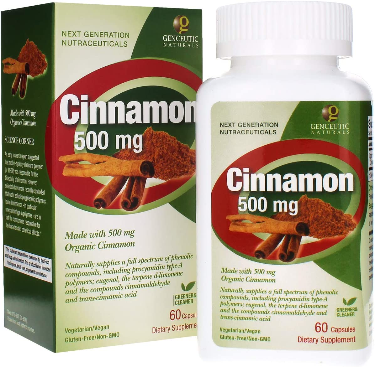 Genceutic Naturals Cinnamon Organic Raw Dietary Supplement Vegetarian Vegan Gluten Free Non GMO Ideal for Healthy Blood Pressure Glucose Levels – 500mg 60 Capsules
