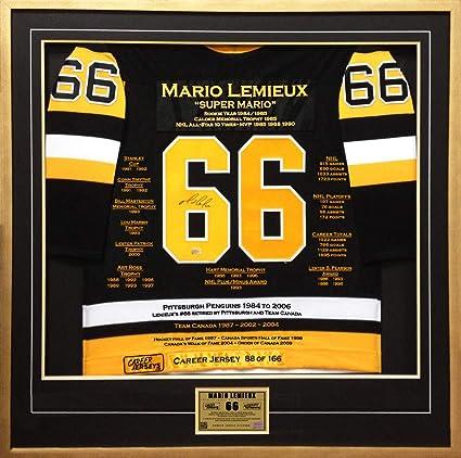 f81230cc2c4 Mario Lemieux Framed Career Jersey - Signed - Ltd Ed 166 - Pittsburgh  Penguins