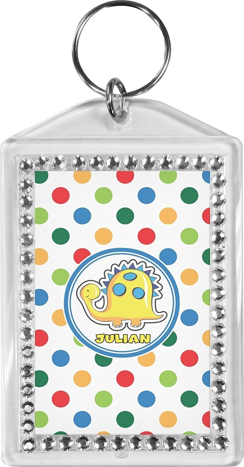Dots & Dinosaur Bling Keychain (Personalized)