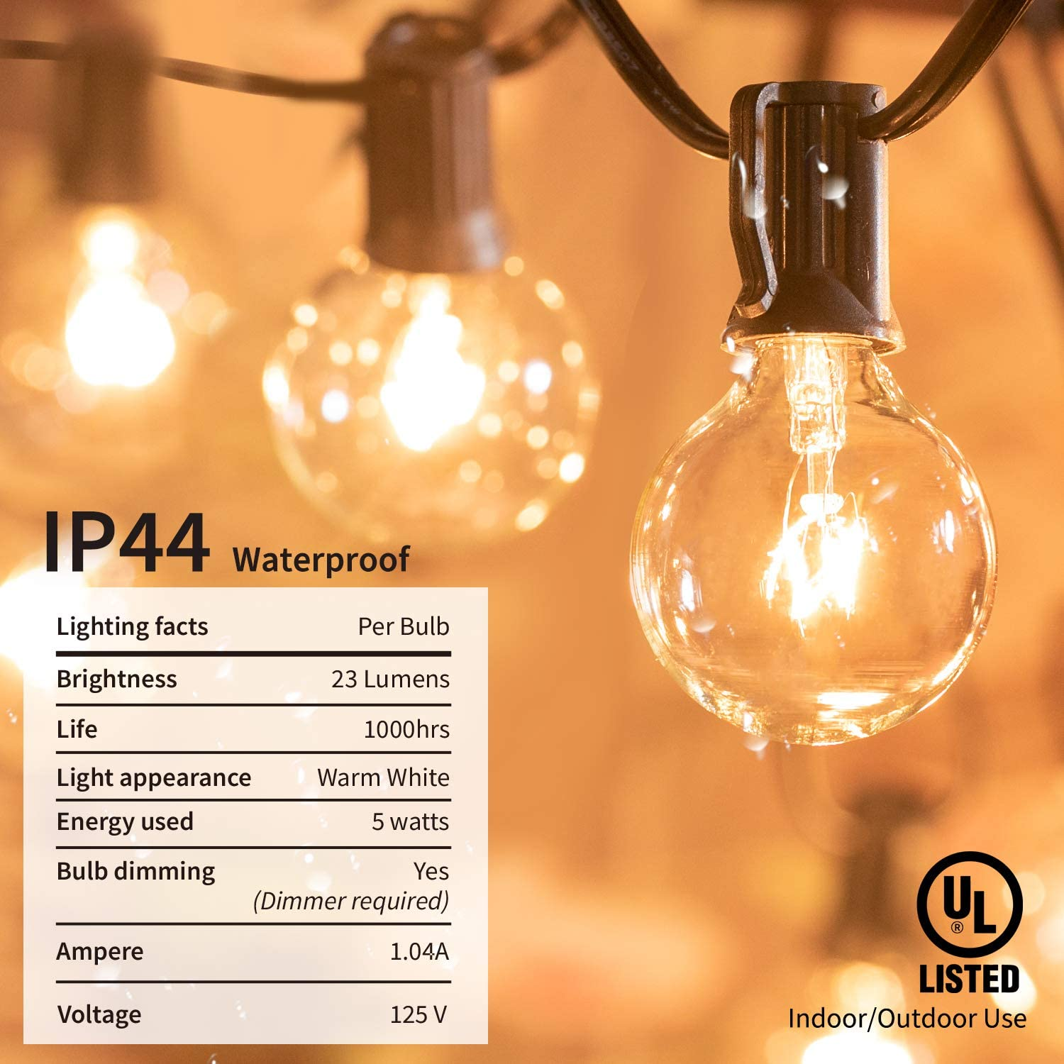 Brightown Outdoor String Lights-25Ft G40 Globe Patio Lights with 26 Edison Glass Bulbs(1 Spare), Waterproof Connectable Hanging Light for Backyard Porch Balcony Party Decor, E12 Socket Base, Black - -