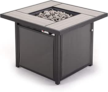 Grand patio Outdoor 32 Inch Propane Gas Fire Pit Table, Square Firetable with Textilene Base, Textilene/Square