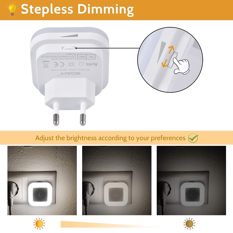2 PCS la cocina SOAIY Blanco fr/ío la habitaci/ón de los ni/ños - Luz de noche regulable con sensor crepuscular Brillo de luz LED Regulable infinitamente para el dormitorio la escalera