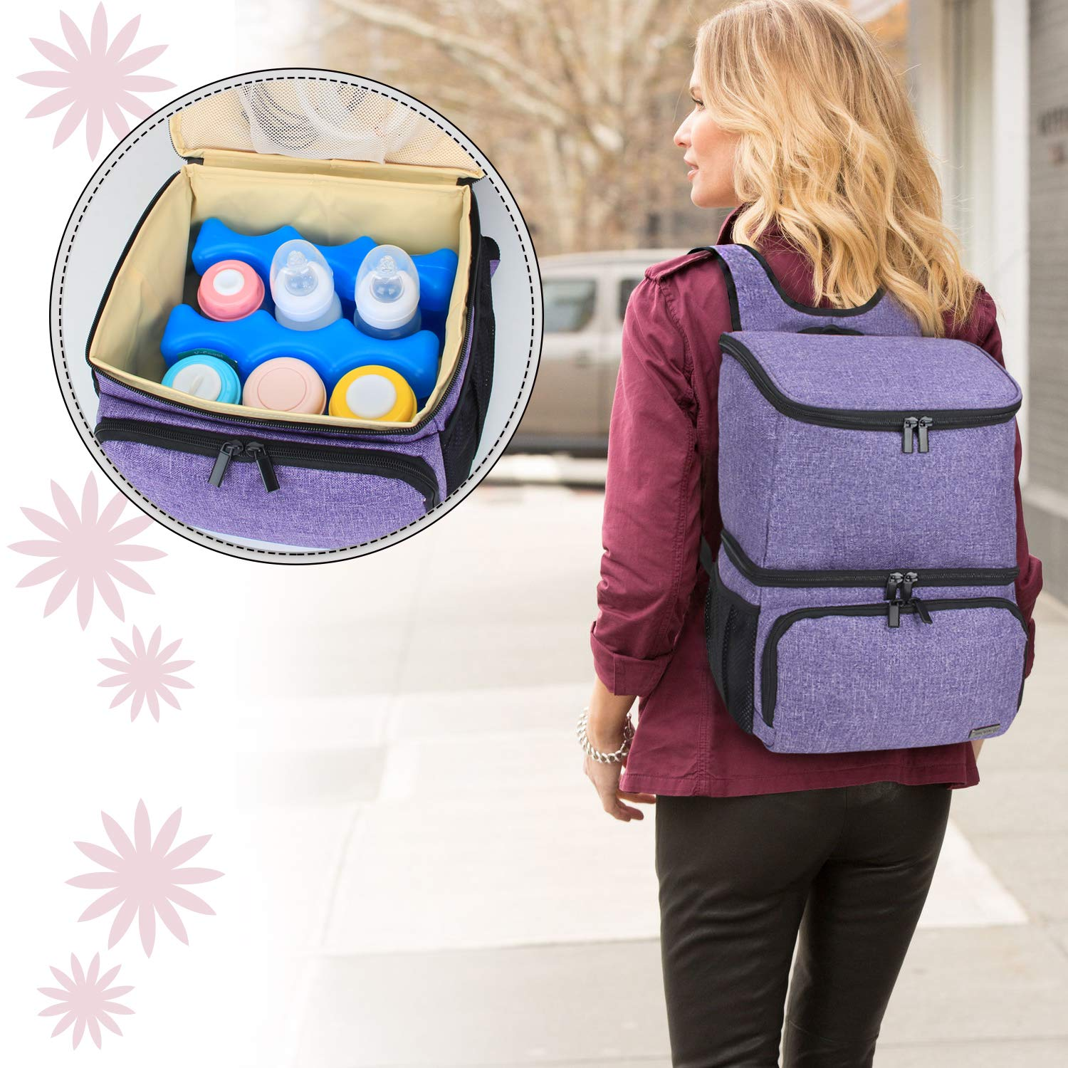 Teamoy Breast Pump Bag Tote with Cooler Compartment for Breast Pump Double Layer Pumping Bag for Working Moms Cooler Bag Purple Breast Milk Bottles and More Bag Only